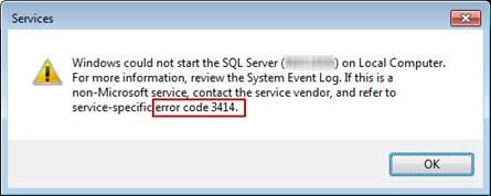 SQL Database Error 3414