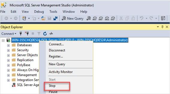 Stop SQL Server Instance