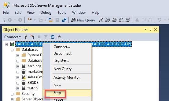 Stop SQL Server Services